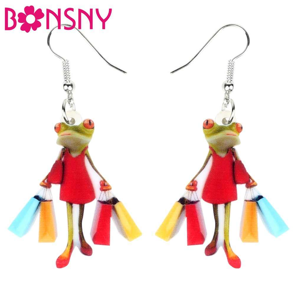 Bonsny Acrylic Shopping Lady Frog Earrings Drop Dangle Fashion Animal Jewelry For Women Girls Ladies Accessories Wholesale Gift