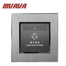все цены на Free shipping hotel card switch energy saving Insert card for power wall switch for room card ,Luxury satin metal silver panel онлайн