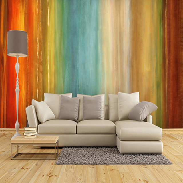 Custom Size Abstract Art Colorful Rainbow Oil Painting Photo Mural Office Living Room Decor Bedroom
