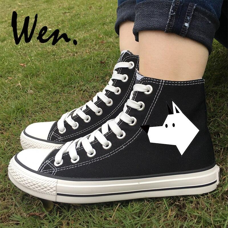 Diszipliniert Wen Original Schuhe Für Frauen Männer Stick Abbildung Geometrische Hund Designs High Top Schwarz Weiß Farben Leinwand Skateboard Turnschuhe