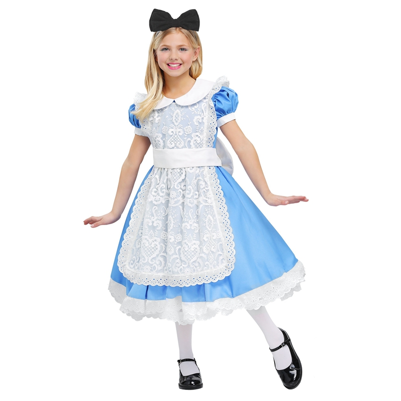Graceful Alice's Adventures In Wonderland Girls Costume Halloween Disfraces For Kids Carnival Enfant Cosplay