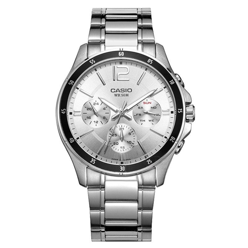 Saatler'ten Kuvars Saatler'de Casio erkek saati pointer serisi çok fonksiyonlu chronograph İş casual İzle erkek saati MTP 1374D 7A'da  Grup 1