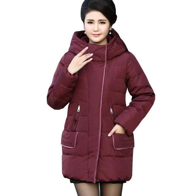 Espesar caliente chaqueta de las mujeres medio-largo abrigo de invierno con capucha suelta ancianos mujeres parka buena calidad de mediana edad prendas de vestir exteriores kp1295
