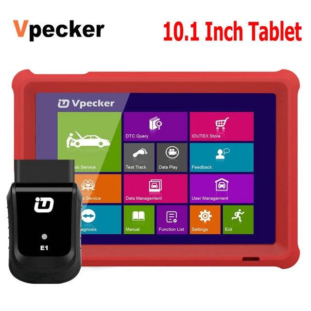 VPECKER E1 Wifi profesyonel OBD2 otomotiv tarayıcı ABS TPMS DPF SAS IMMO OBDII teşhis aracı ile 10 inç Tablet ücretsiz güncelleme