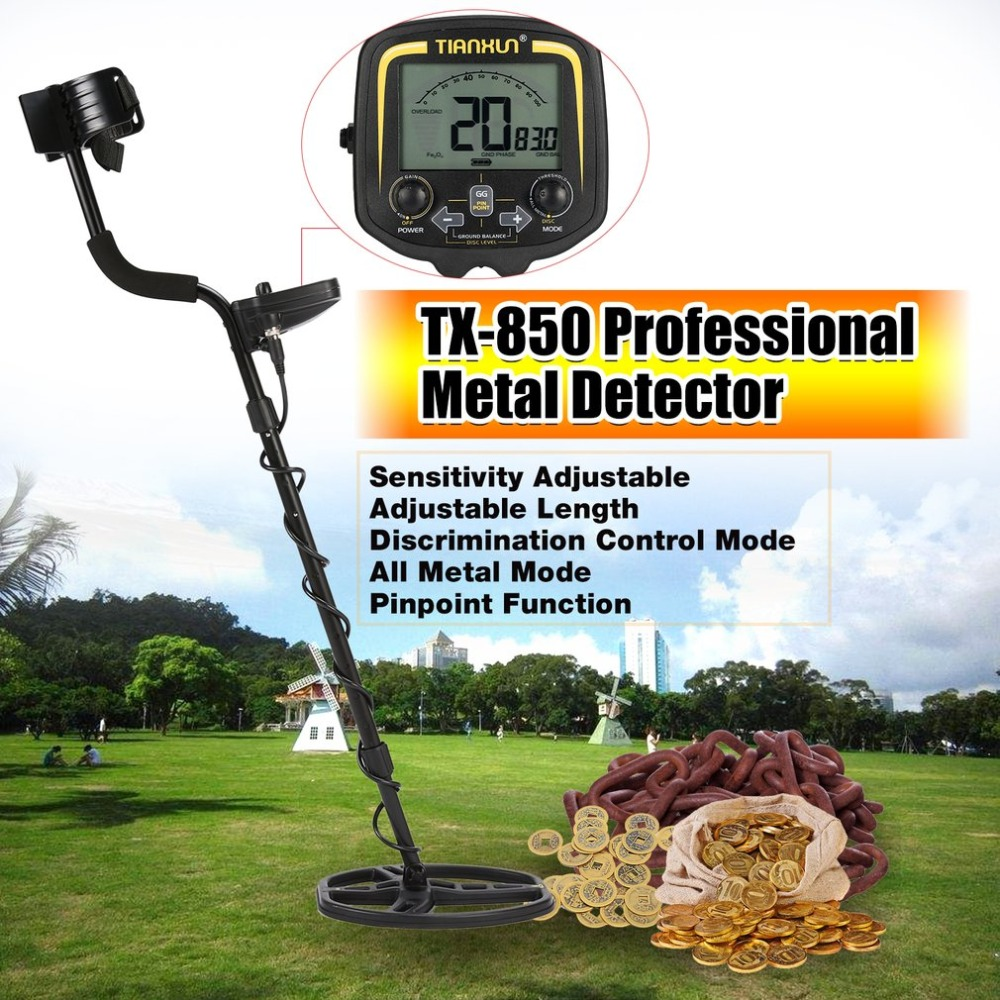 TX-850 Professional Underground Metal Detector Handheld Treasure Hunter Gold Digger Finder With Headphone LCD Display 2018 best headphone for underground metal detector gold finder t2 g m t