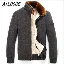 AILOOGE 2017 TOP Quality Brand Down Parka Men Rex Rabbit Fur Coat Winter Coat Men Warm Fleece Mens Jackets And Coats,Large Size
