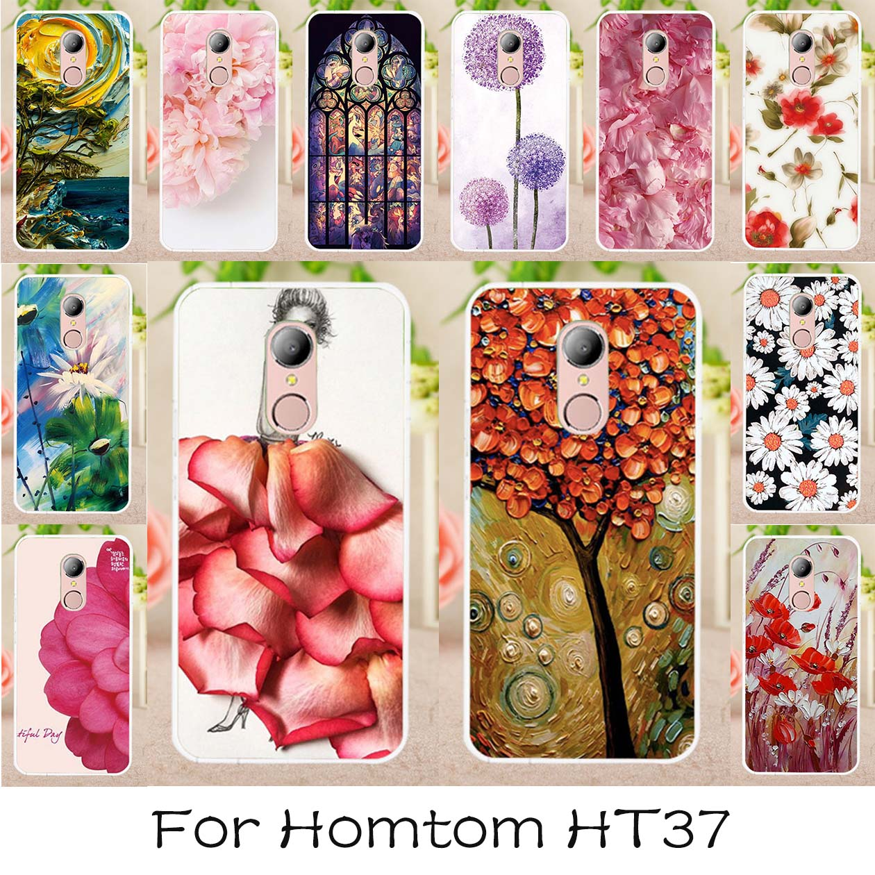 AKABEILA סיליקון טלפון כיסוי מקרה עבור HOMTOM HT37 HOMTOM HT37 Pro 5.0 inch רך TPU נרתיקים צבועים בחזרה מכסה מעטה הוד
