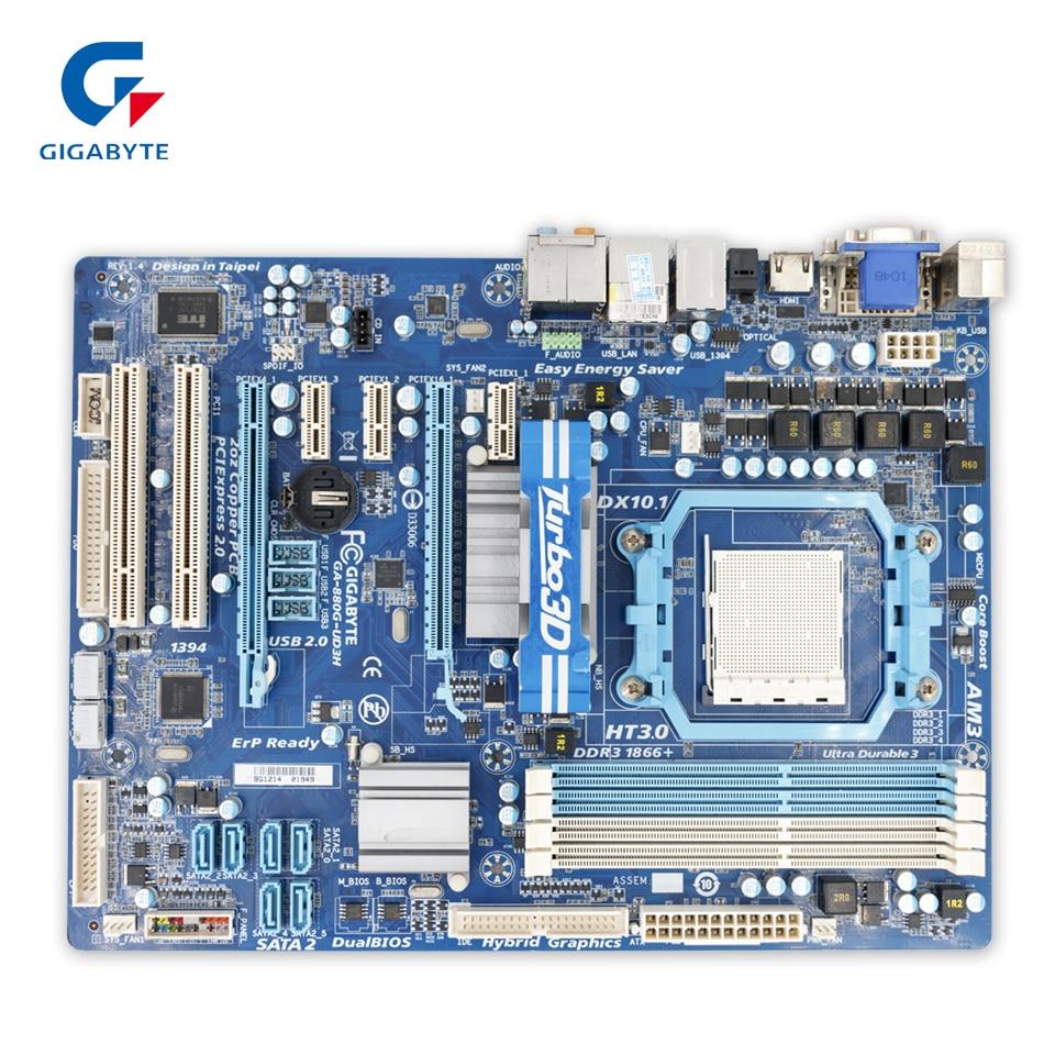 Gigabyte GA-880G-UD3H Original Used Desktop Motherboard 880G-UD3H 880G Socket AM3 DDR3 SATA2 USB2.0 ATX gigabyte ga ma770 es3 original used desktop motherboard amd 770 socket am3 ddr2 sata2 usb2 0 atx