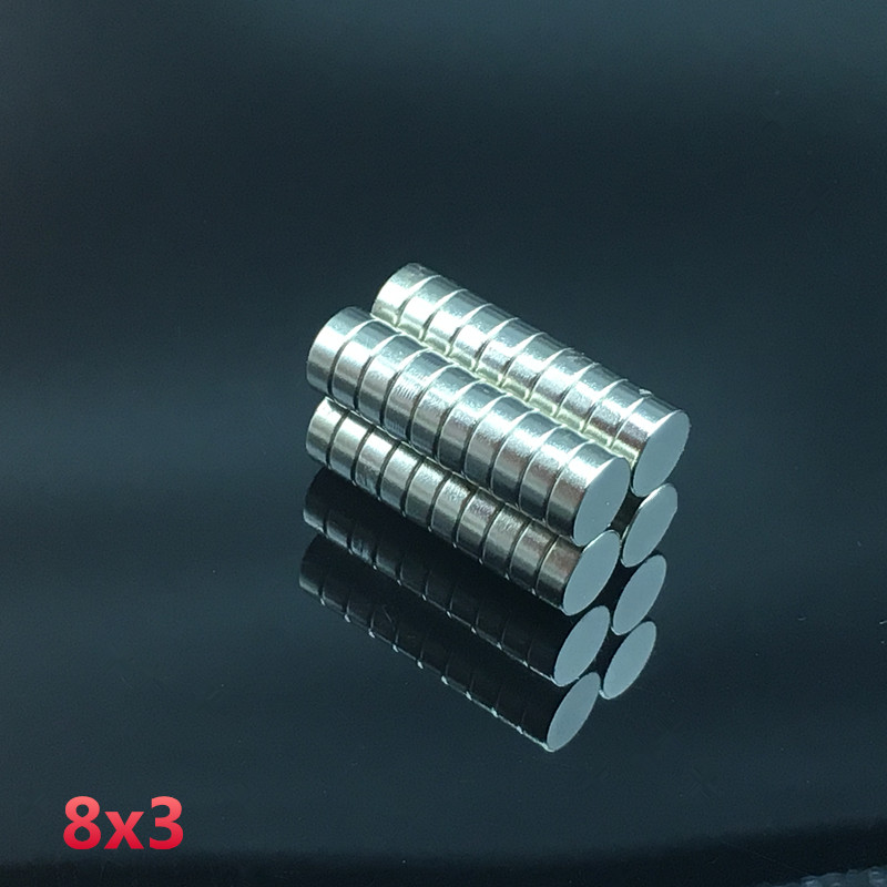 100PC 8x3mm neodymium magnet 8mm*3mm strong rare earth neodymium magnets 8*3mm NdFeB permanent round magnetic 8mm x 3mm doreenbeads rubber earring components post stopper cylinder transparent 3mm 1 8 x 3mm 1 8 150 pcs