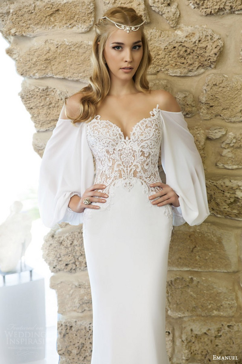 romantic designer haute couture wedding dress lace bodice draped billowy long sleeves bridal gown 2016