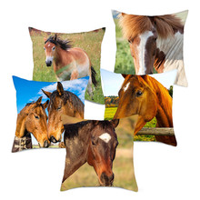 Fuwatacchi Wild Grassland Horse Throw Pillows Cover wild Animals Cushion Covers For Home Chair Sofa Decorations Pillowcases 2019
