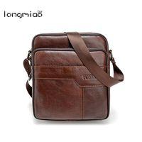 longmiao Vintage Genuine Leather Cowhide Shoulder Bags Men Messenger Bag Small ipad Male Tote Crossbody Bags Men's Handbags