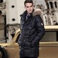 2016 NUEVOS abrigos de INVIERNO Ropa de Los Hombres Abajo Chaquetas de Negocio de largo y grueso por la chaqueta de lujo de mapache cuello de piel