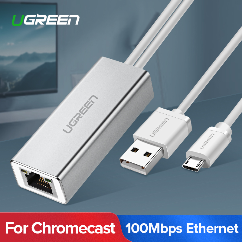 Ugreen USB Ethernet para Chromecast de Google cromo fundido de Netflix, Youtube Micro usb a RJ45 para Amazon Fire TV Stick Chromecast 3/2
