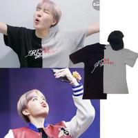 Kpop Home BTS Bangtan Boys JHOPE The Same Two Colors Splicing Matching Letter Summer Short Sleeve