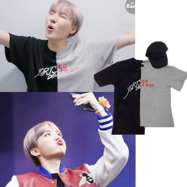 Kpop home BTS Bangtan Boys JHOPE The Same Two colors splicing matching letter Summer Short Sleeve Tshirt