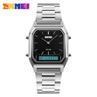 SKMEI Luxury Fashion Casual Quartz Watch Waterproof Stainless Steel Band Analog Digital Sports Watches Men Relogio