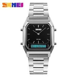 Skmei luxo moda casual relógio de quartzo à prova dwaterproof água aço inoxidável banda analógico digital esportes relógios masculino