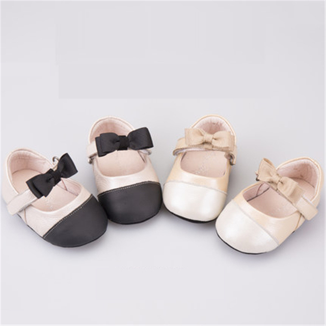 Newborn Baby Girls Shoes First Walkers Anti Slip Hook Loop Autumn Cute Rubber Sole Baby First Walker Leather Shoes 70A1053