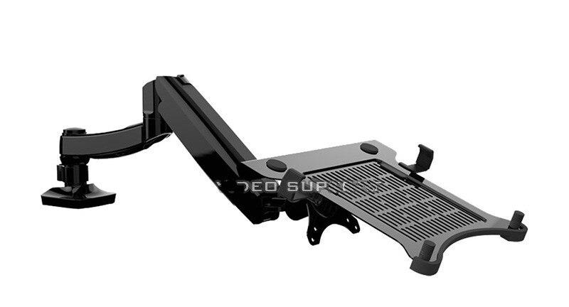 D5F bureau plein mouvement ressort à gaz double usage 10-15.6 'support de montage pour ordinateur portable + 10-27 pouces support de bras de support de moniteur