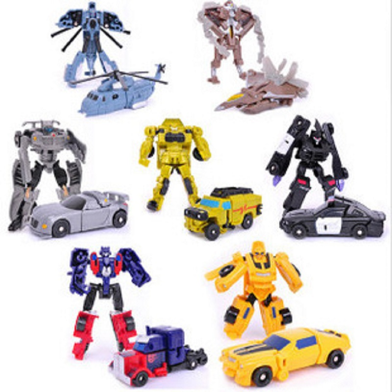 2016 New 7 Style Super Mini Plastic Transformation Robot Car Action Figure Toys Cars Robots Education Toy image