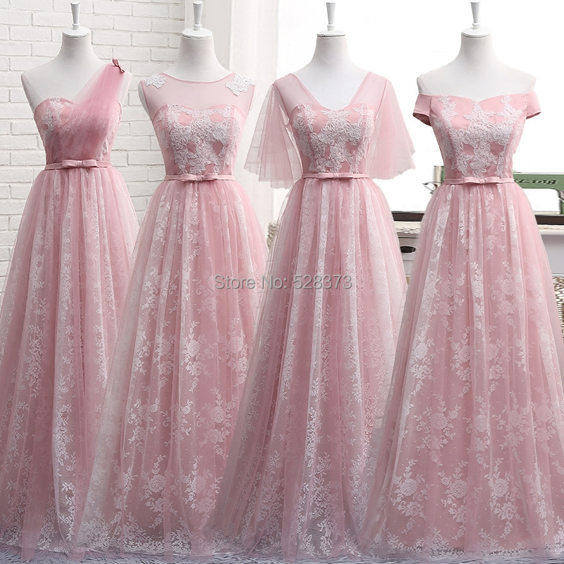 YNQNFS BD5 Elegant A-line Multi Color One Shoulder Lace   Bridesmaid     Dresses   Pink Blue Real Photos