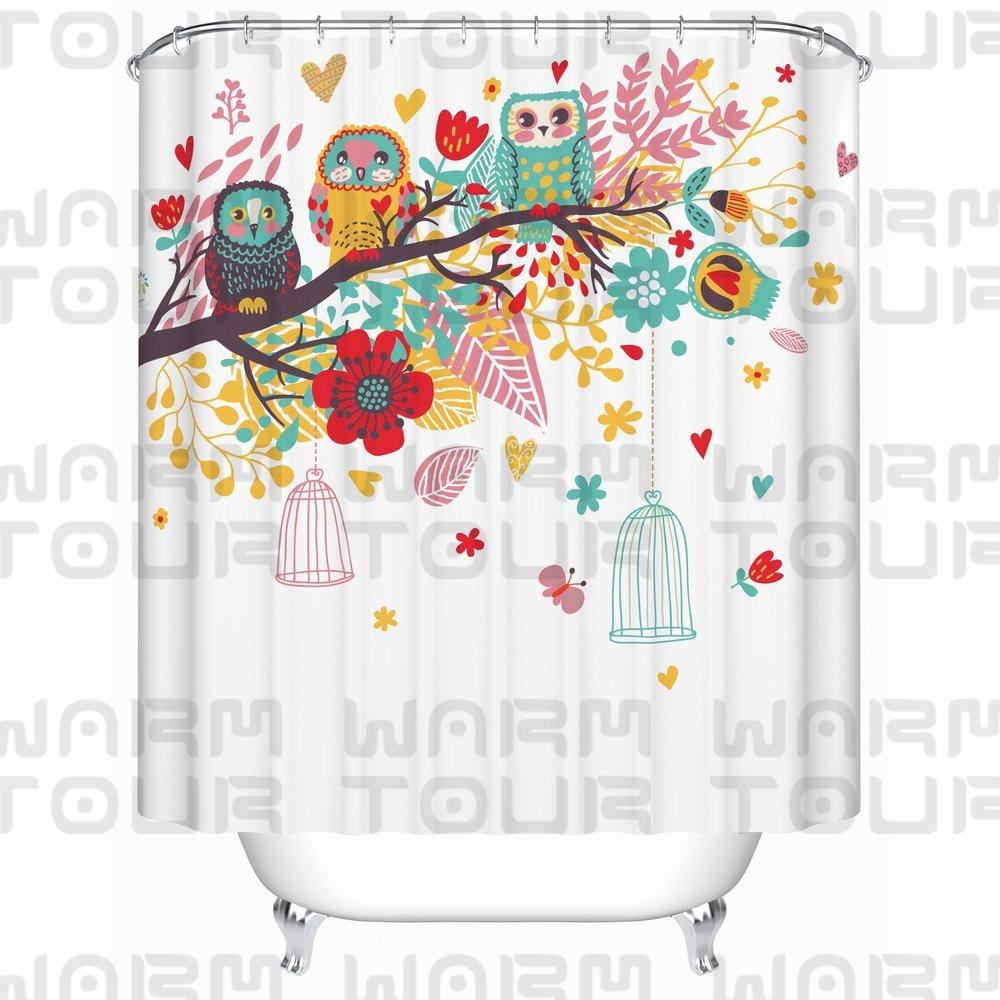 chaud tour color hiboux sur branches enfants rideau de douche impermable leau de bain en polyester rideau hpital et htel - Rideau De Douche Color