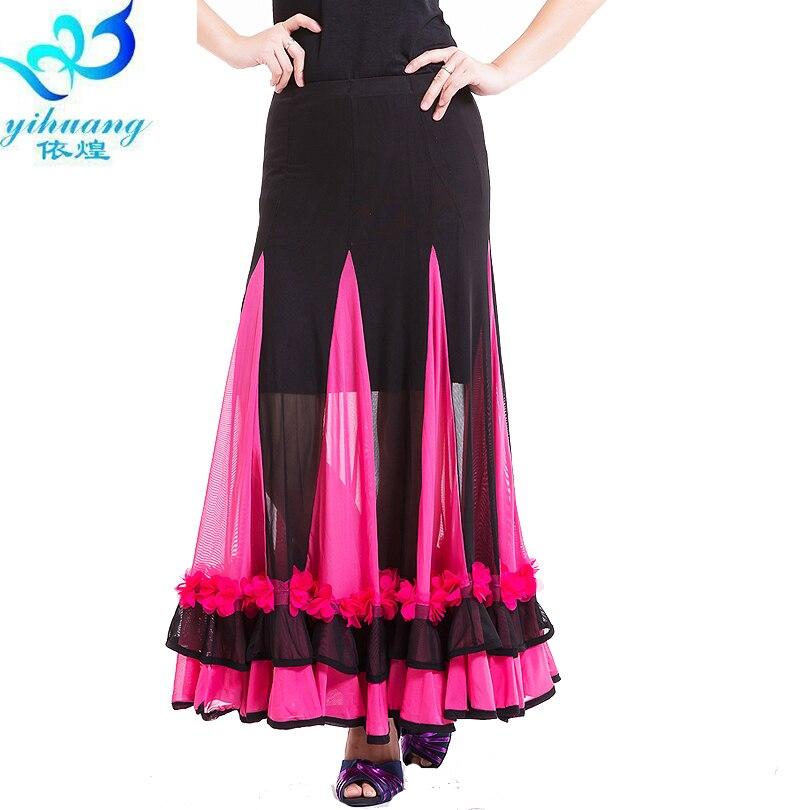 Free Shipping Ballroom Dance Flamenco Long Skirt Big Swing Modern Waltz Modern Standard Stretchy Waistband Dress