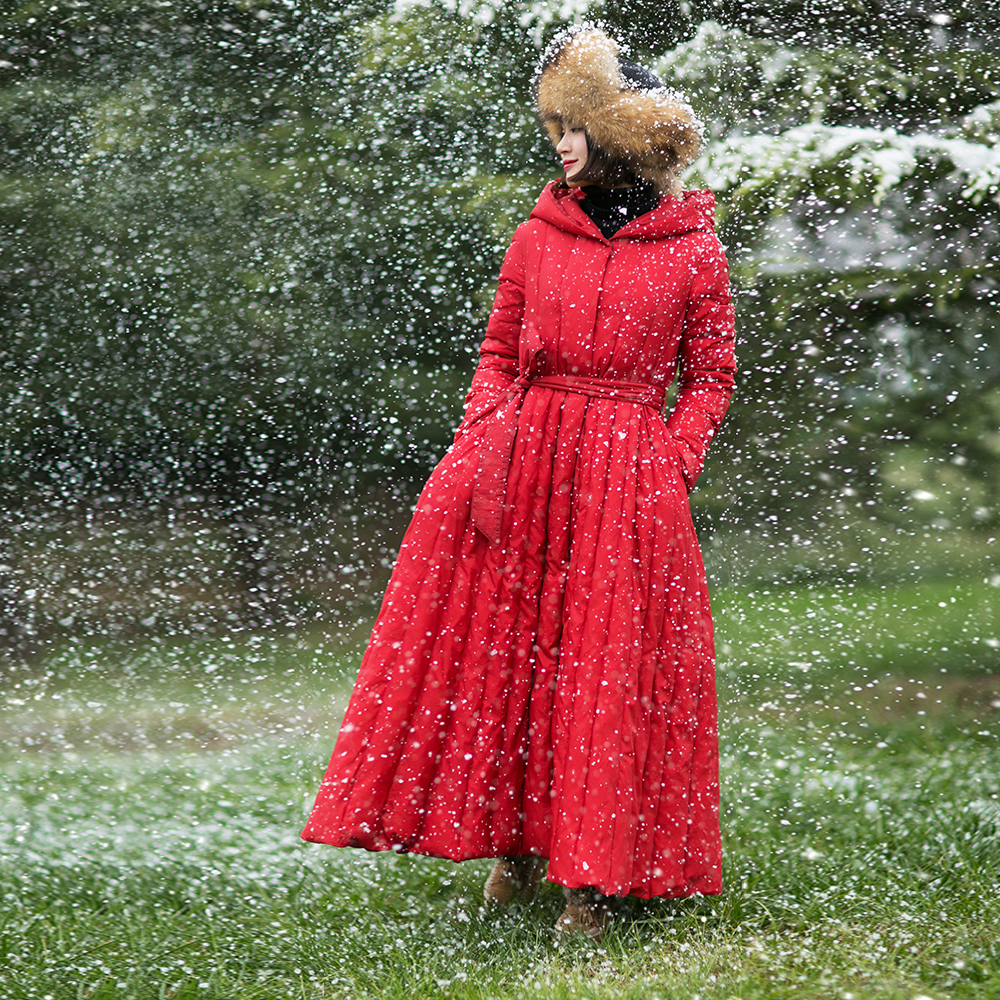 MM093 Nuovo Arrivo Inverno 2017 vintage con cintura a maniche lunghe maxi con cappuccio bianco duck down jacket women