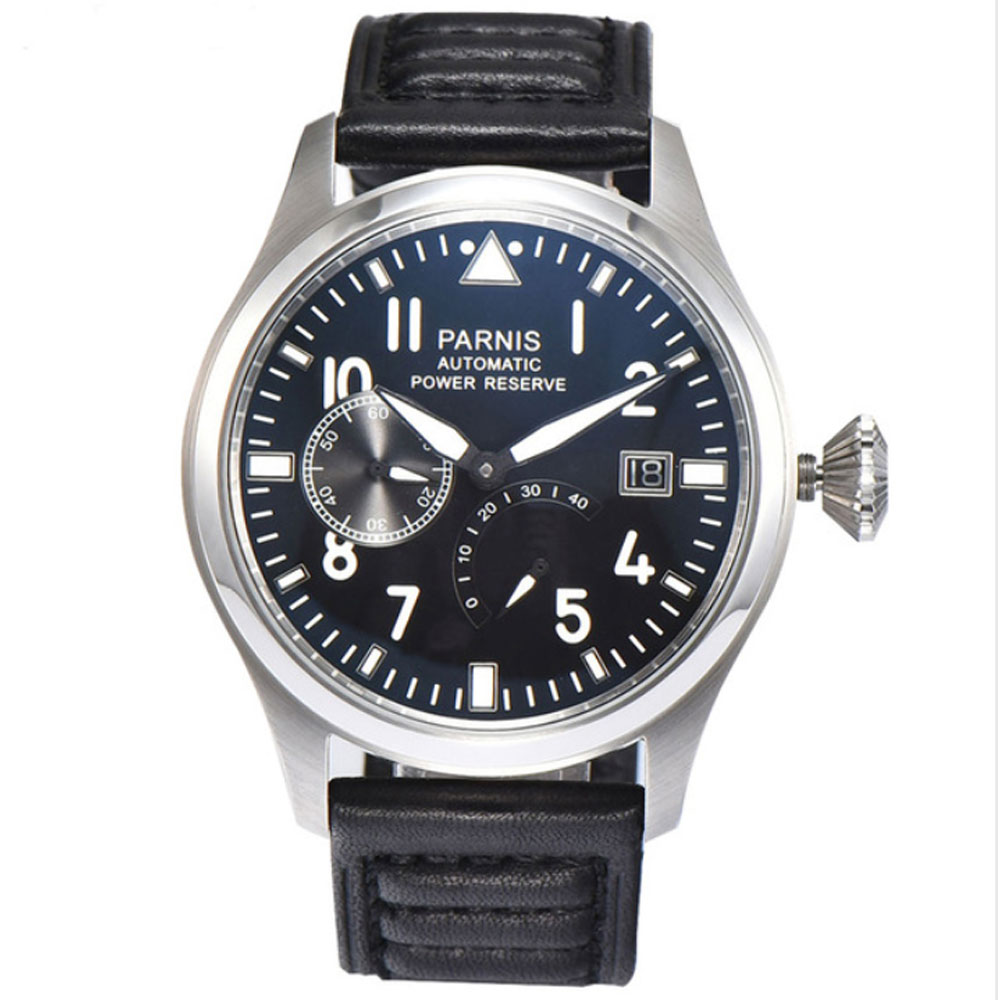 47mm Parnis Black Dial Automatic Watch Power Reserve Military Big Face Wrist Watch ST 2530 Automatic Movement men's Watch fashion parnis mechanial 50mm big face black dial automatic men s watch