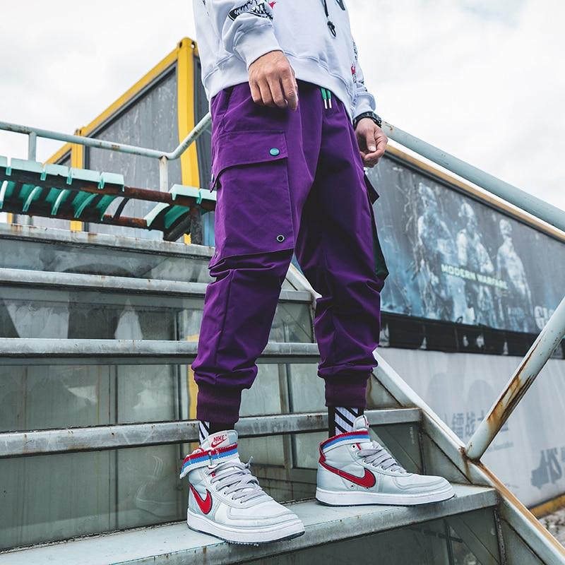 Loldeal Mens Purple Joggers Pants Pockets Streetwear Cargo Pants Male Hip Hop Track Pants Korean Fashions Overalls