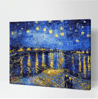 DIY paint by number pictures for living room Modern Van Gogh night landscape wall art pictures 1 panel framed home decor picture