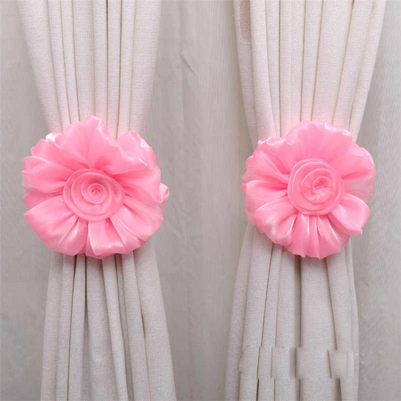 Curtain tieback  Rose Flower Window Curtain Tieback Buckle Clamp Hook Fastener Rose flower Curtain tieback dropshipping 18may16