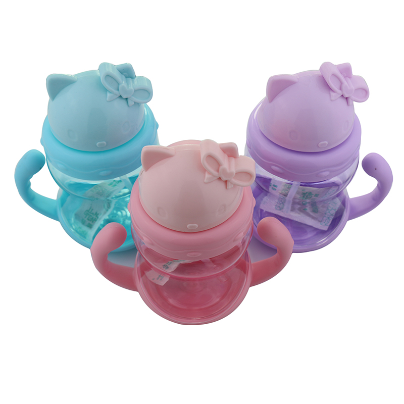 250ml Cute Kitty Baby Feeding Cup with Straw Children Learn Feeding Drinking Bottle with Handle Kids Training Cup BE-005 240ml baby drinking water bottle cups with straw portable feeding bottle cartoon water feeding cup with the handle for baby hot