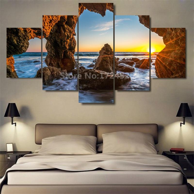 Bez rámečku 5 kusů moře Vstup do jeskynního plátna Obrazy na zeď Umělecká výzdoba domova pro ložnici ve vysoké kvalitě
