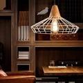 Retro Nordic Industrial Iron Wood Pendant Light Country Art Loft Drop Lamp for Bar Cafe Warehouse Lustre cage art deco Lighting