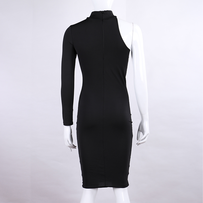 One Shoulder Halter Long Sleeve Women Pencil Dress Sexy Club Bodycon Party Dresses (1)