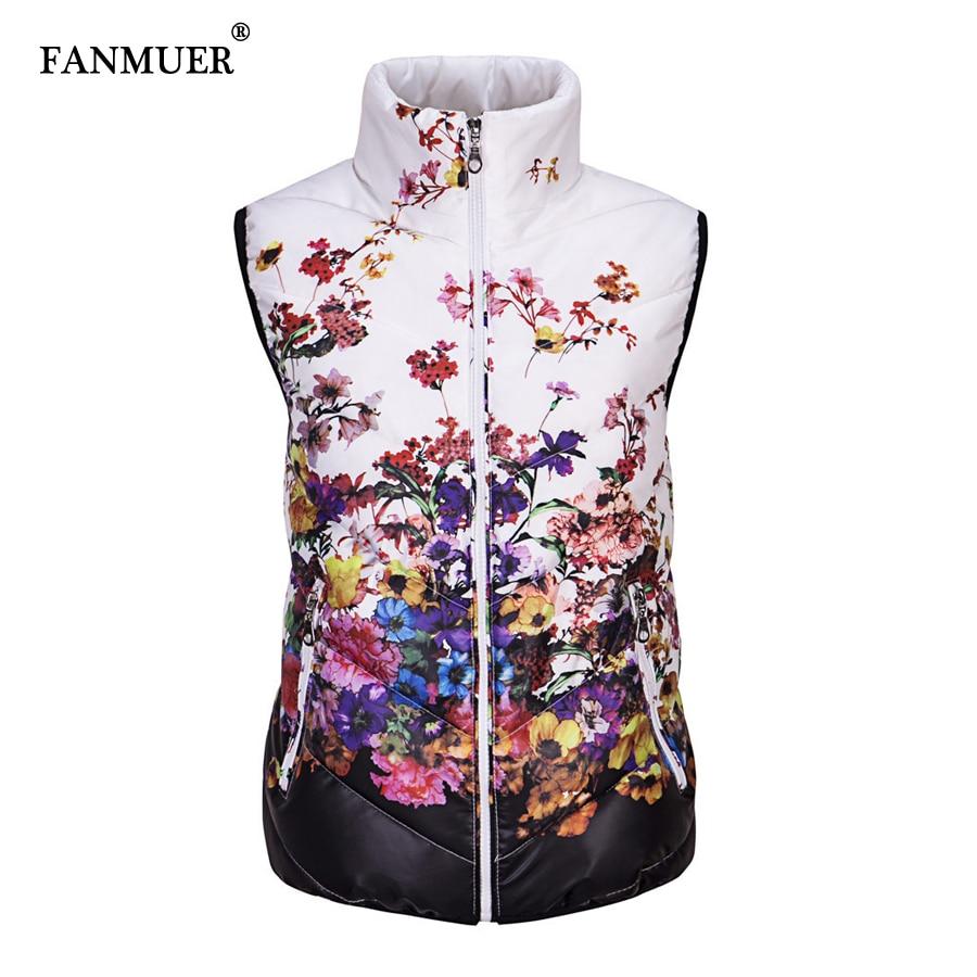 2017 women witner vest colete feminino winter sleeveless jacket women casual floral jacket vest outerwear coat vests of women