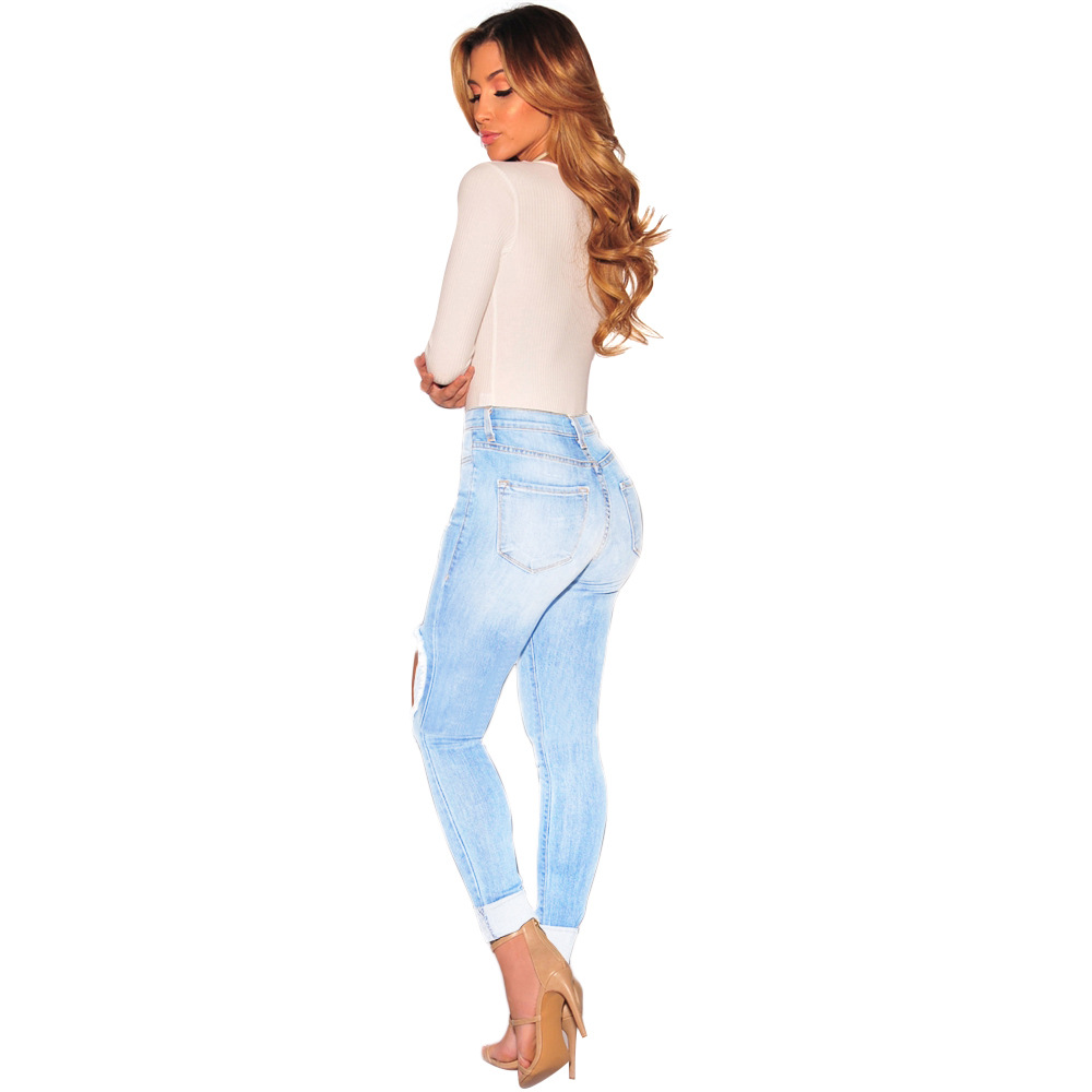 Hot style lady ripped jeans 2