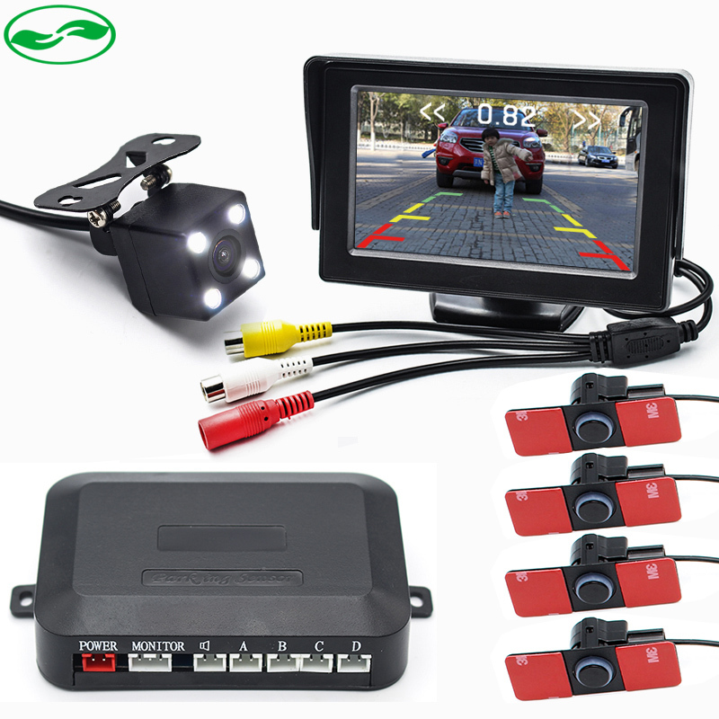 ФОТО 3in1 16MM Flat Sensors Car Video Parking Sensor Radar With Rear View Camera Display Distance On 4.3