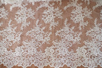 ivory alencon lace fabric with retro floral, cord lace fabric, bridal lace fabric
