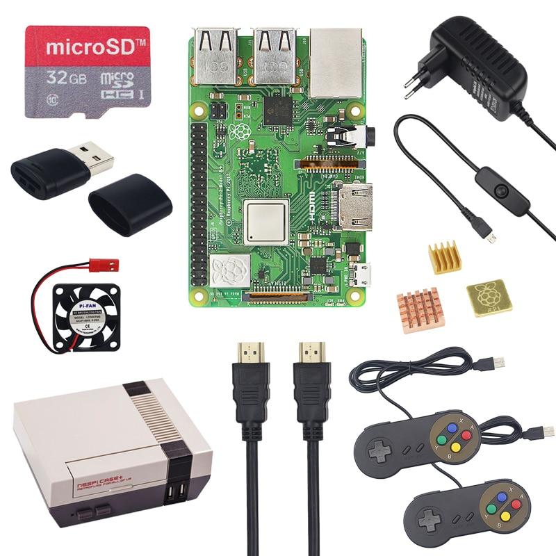 Nova 3 Raspberry Pi Modelo B + Plus CASO + Starter Kit + 32 NESPi GB SD  Card + 3A adaptador de alimentação + Gamepad + Dissipadores de Calor +