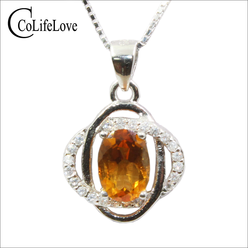 Classic 925 silver necklace pendant with citrine 5 mm*7 mm natural citrine silver pendant sterling silver yellow crystsl jewelryClassic 925 silver necklace pendant with citrine 5 mm*7 mm natural citrine silver pendant sterling silver yellow crystsl jewelry
