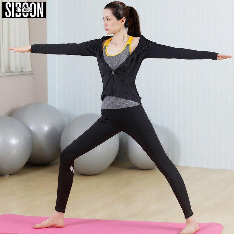 Nouveaux costumes de Yoga femmes vêtements de Sport Fitness survêtement de course gilet de Sport + Leggings de Sport + manteau de Yoga jogos rinkinys