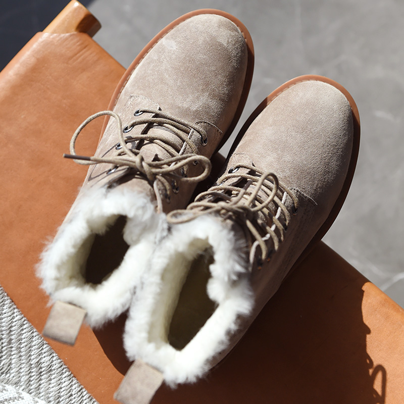 BeauToday Wool Snow Boots Women Genuine Leather Round Toe Lace-Up Platform Winter Ladies Ankle Length Shoes Handmade 03281 3