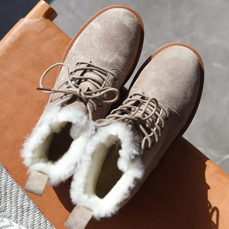 BeauToday laine neige bottes femmes en cuir véritable bout rond à lacets plate forme hiver dames cheville longueur chaussures à la main 03281 - 4