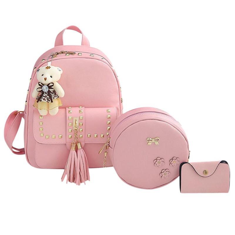 3pcs/Set Women Rivet Tassel Backpack Shoulder Crossbody Bag Small Card Bag School Backpacks For Teenage Girls Lady Composite Bag