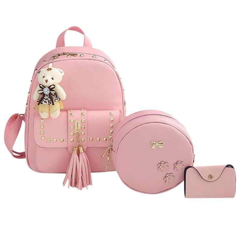 3pcs/Set Women Rivet Tassel Backpack Shoulder Crossbody Bag Small Card Bag School Backpacks For Teenage Girls Lady Composite Bag