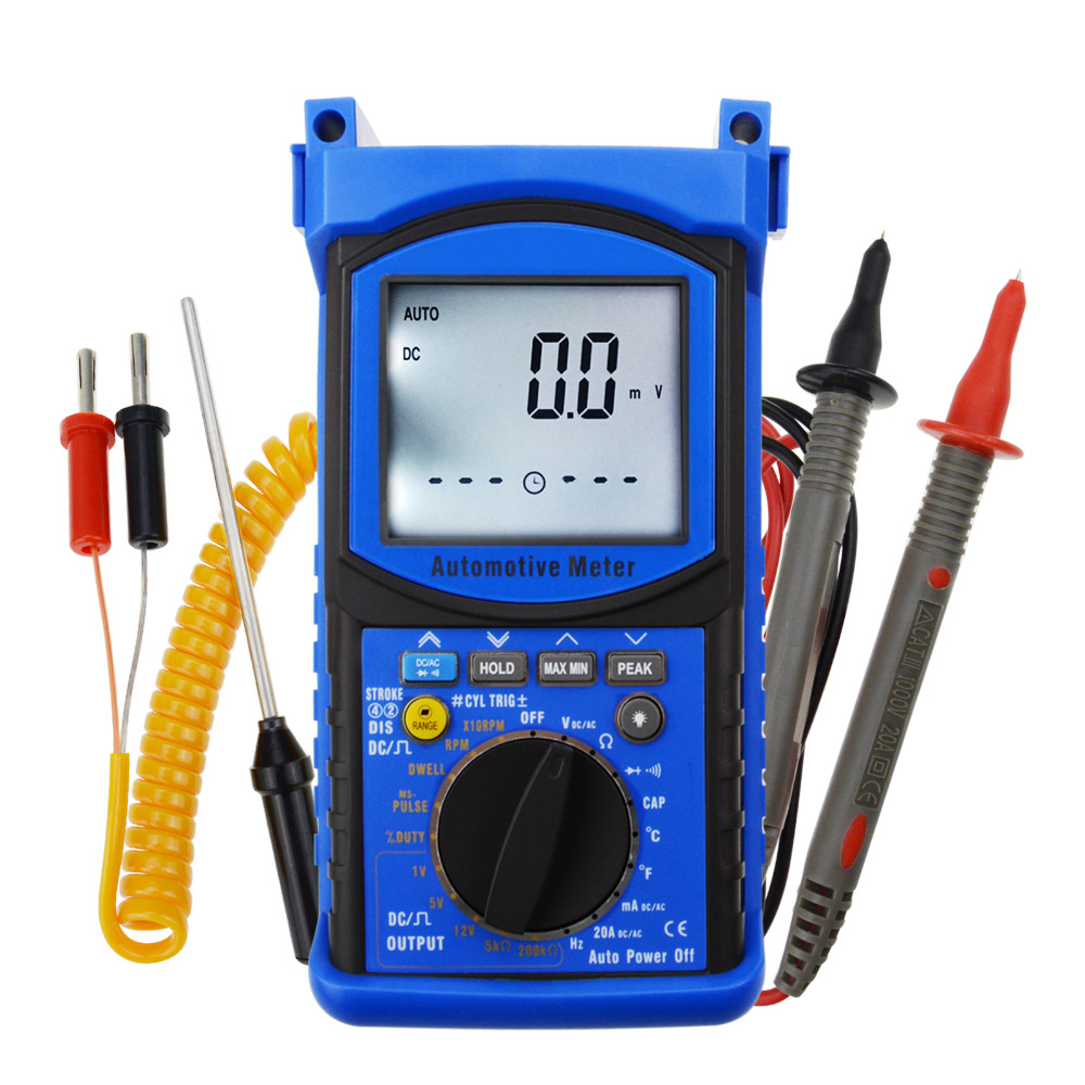6000 Counts Meter Tester Auto-Ranging Automotive Multimeter Instrument Digital Engine Analyzer - Capacitance, DC AC Current high precision digital capacitance inductance meter auto ranging component tester 500kh lc rc oscillation inductance multimeter