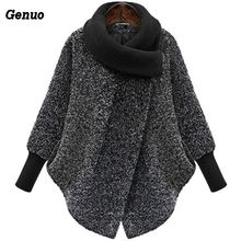 Gary Bat Sleeved Woolen Coat Scarf Collar Jackets Women Winter Fashion Outerwear Thicker Loose With Zipper Mujer Casual New